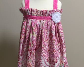 Girls summer JoJo sundresses, pink, yellow, gray and white paisley with flower accent, sizes 2T & 5T, ready to ship!