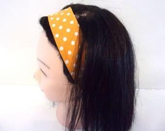 Bandeau cheveux femme à pois jaune orangé
