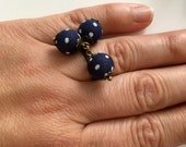 RESERVED ring Navy fabric bead has white dots