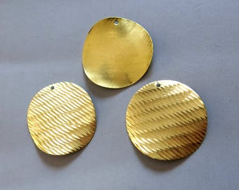 20pcs Raw Brass Round Charms,Stamping Tag,Pendants Findings 35mm - F833
