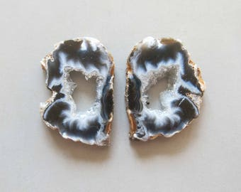 A Pair Natural Druzy Agate Geode Slices C5205