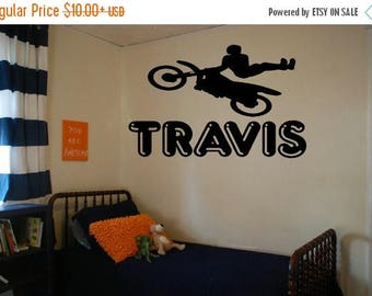 EVERYTHING IS 20% OFF Motocross Rider With Personalized Name Wall Decal Vinyl Decals Boy Decals Bedroom Decals Wall Decor Wall Art