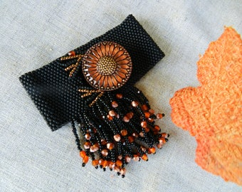 Fringe Magic Burn Orange Black Bracelet Boho Bracelet Czech Button Bracelet Beadwoven Bright Tangerine Orange Gold Black Sunburst Cuff