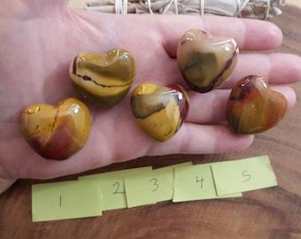 Golden Mookite Heart ~ One 30mm Reiki Infused Heart