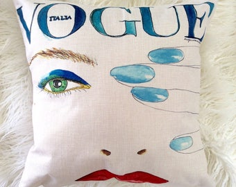 "Watercolor Fashion Inspired Art Pop Vogue blue green eyes and red lips yellow logo print design Inspired pillow case cover linen 18""x18"""