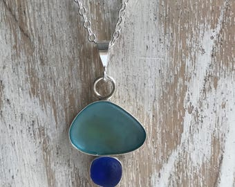 Natural sea glass and silver necklace.