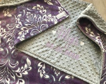 Purple Floral Double Minky Baby Blanket, SALE! Madrid Violetta