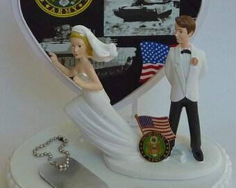 Wedding Cake Topper U.S. Army Themed Military Enlisted Runaway Bride Groom's Cake Top Humorous Funny Dog Tag Flag Heart w/ Bridal Garter Fun