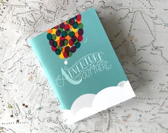 """Mini pocket notebook // """"Adventure is Out There""""(UP inspired)  // 40 lined pages"""
