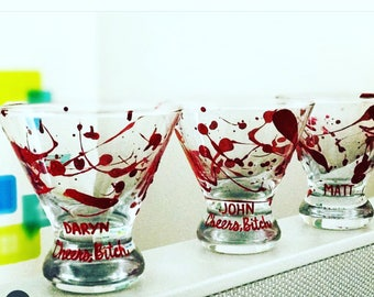 Blood splattered martini glass in honor of my favorite podcast