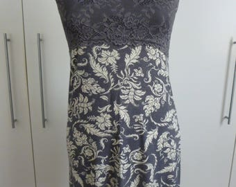 Stretch viscose and lace nightie or dress, size 8-10 Grey lace shoestring straps and grey and white floral.