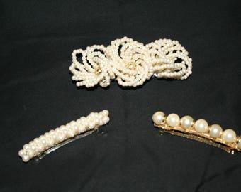 Vintage Pearl Bead Barette Hair Clips