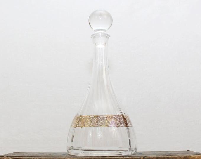 Vintage 1960s Mid Century Mod Crystal Wine Decanter
