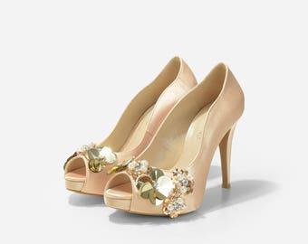 Garden of Eden Champagne Gold Wedding Heels, Gold Satin Bridal Peep Toe Heels,Satin Wedding Heels, Champagne High Heel Satin Evening Shoes
