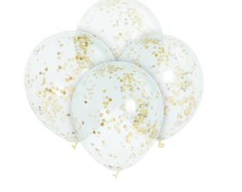 6-Clear balloons with gold confetti. Gold confetti balloons for wedding / birthday/ baby shower / bridal shower (#49595)