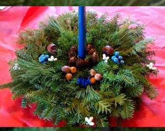 Blueberry Balsam Centerpiece with One Candle
