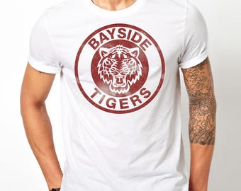 Bayside Tigers - Saved By The Bell Inspired Funny Mens Graphic T- Shirt - Tee - AC Slater - Screech Free Shipping