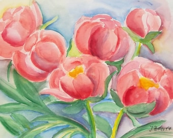 Flower Painting of Peonies, Original Watercolor, Spring, Salmon-Pink, signed Original