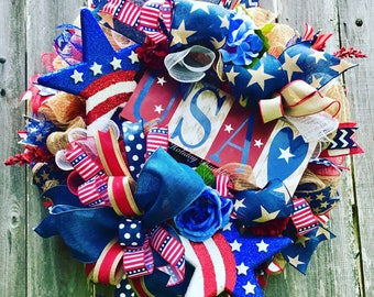Patriotic Wreath, USA Wreath, Star Wreath, 4th of July Wreath, Memorial Wreath, Independence Day Wreath, Patriotic Decor