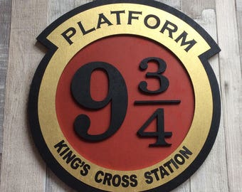 Large Harry Potter Platform 9 3/4 Kings Cross Station train sign - laser cut wooden plaque beautifully painted
