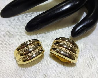 Vintage Givenchy Textured Gold Tone Half Hoop Earrings