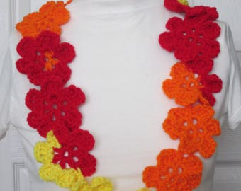 Hawaiian Yarn Lei,Floral lei~Twisted lei~6 Patel lei~5 Finger lei~Prefect for any Special Events/Occasions-Red/Orange/Yellow