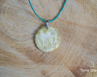 Ceramic necklace, ceramic jewelry, porcelain, leather cord,  white, green, sgraffito, organic pattern, stainless steel, handmade
