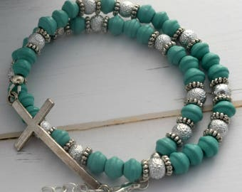 Bracelet With Turquoise   Bracelet Gift For Christian, Gift-For-Woman, Christian Jewelry Bracelet, Gift-For-Mom, Gift With Cross For Her