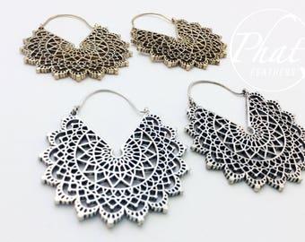 Big Mandala Hoop Earrings, Tribal Hoop Earrings, Brass Geometric Earrings, Gypsy Ethnic Hoop Earrings, Statement Earrings, Flower Earrings