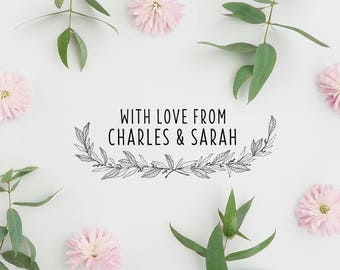 With Love Stamp, Wedding Favor Stamp, Wreath Stamp, Packaging Stamp - CW721