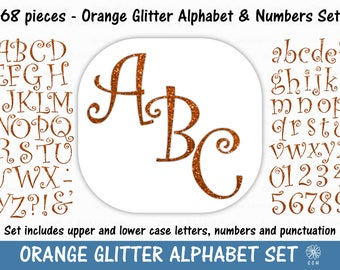Orange Glitter Digital Alphabet and Numbers Clipart Set - curly font style - Commercial Use - Instant Download