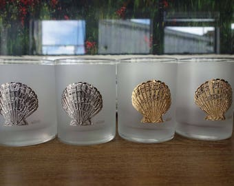 Carver 24k Gold & Silver Clam Shell Tumblers