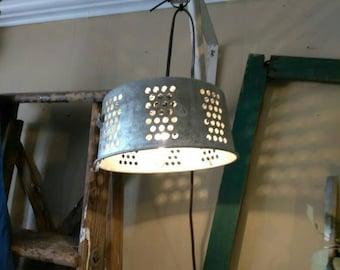 Colander hanging light. Repurposed lighting. Farmhouse light