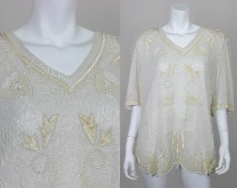 Vintage White Sequin Blouse Plus Size 10 Pure Silk Beaded Top Shirt Party Evening