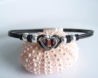 Black Leather Cord Open Heart Bracelet- R7762