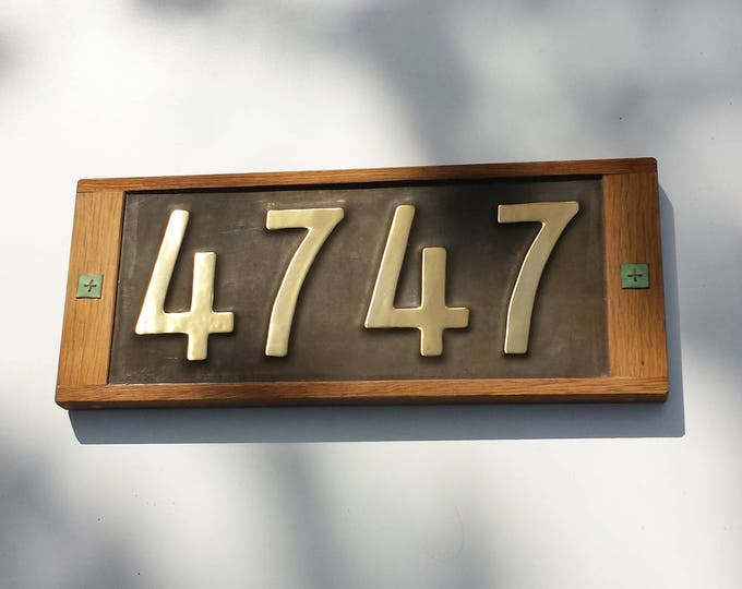 """Oak framed and Brass Mission Mackintosh Style 3""""/75mm, 4""""/100mm,  address plaque, 4 x nos, polished, patinated and  laquered g"""