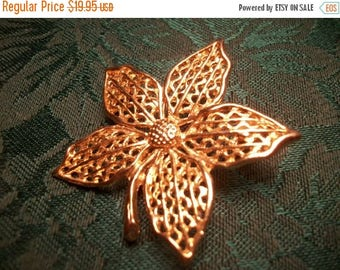 Floral Brooch  Gold Overlay Five Petal Flower Coat Pin Vintage 1960's Jewelry Fashion Accessory Free Domestic Shipping