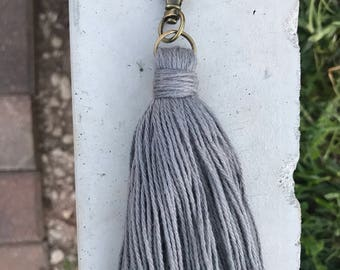 Grey Cotton Keychain/zipperpull