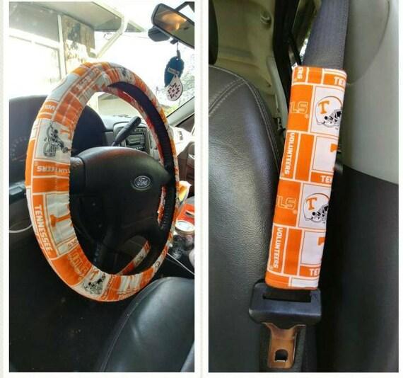 TN Vols Car Accessories Set Steering Wheel Cover 2 Seat Belt