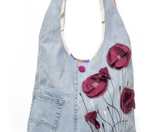 Purple blue poppy, romantic style shoulder bag