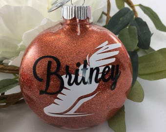 Track and Field Shoe Glitter Ornament, Personalized glitter ornaments, track and field gift, gifts for runners, monogrammed