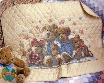 Bear Hugs Quilt Cross Stitch Kit,Teddy Bear X-Stitch,Baby room,Wall Hanging,Baby Girl Gift,Teddy Bear Picture,Gender Neutral, Bear Family