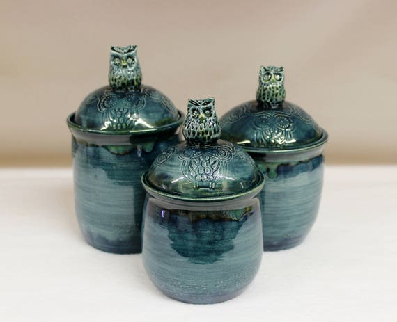 owl kitchen canisters rainy day celedon blue owl ceramic canister set with owl knobs 14495