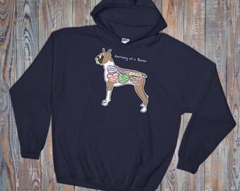 Anatomy of a Boxer - Funny Boxer Dog Hoodie - Dark Colors - Hooded Sweatshirt