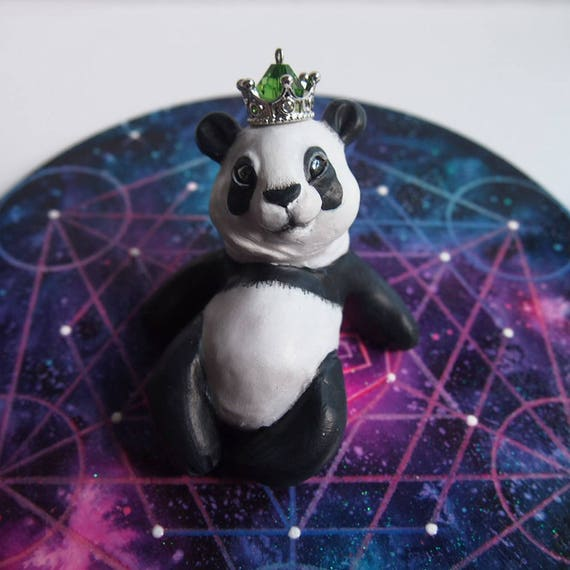 HOUSE SPIRITS / PANDA - Handmade Polymer Clay Sculpture With a Swarovski Crystal