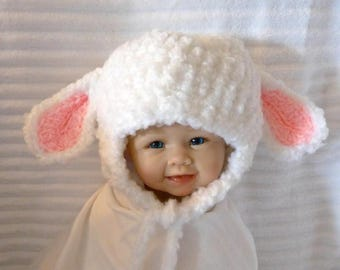 White Lamb, Black Sheep hat, crochet lamb hat, newborn to adult lamb hat, ear flaps, White, Gray, Tan or Black