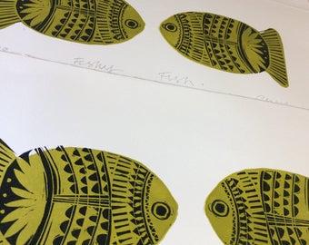 Fishy Fish limited edition lino print.
