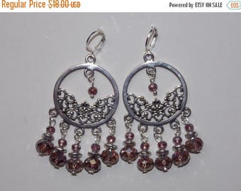 15%OFF Large Round Purple Glass and AB Purple Crystal Silver Chandelier Earrings