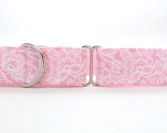 Light Pink and White Lace Pet Collar (Martingale, Buckle, or Tag)