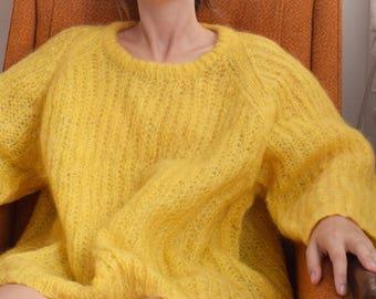 Boxy Lemon Mohair Sweater